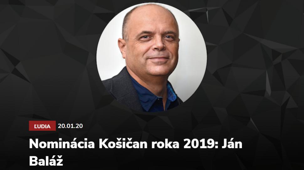 """Ján Baláž nominovaný na """"Košičan roka 2019"""""""